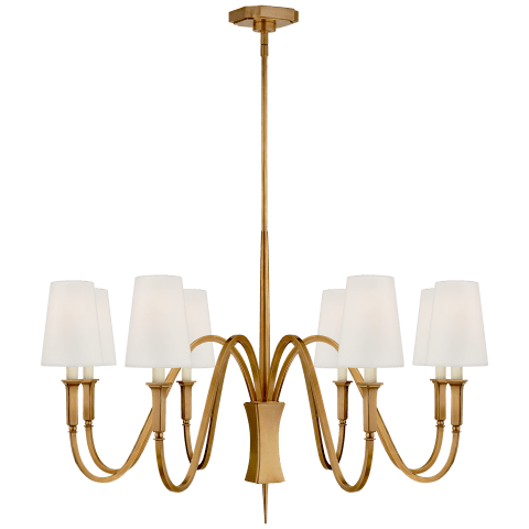 Delphia Medium Chandelier in Hand-Rubbed Antique Brass with Linen Shade