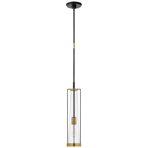 Calix Tall Pendant in Bronze and Brass with Clear Glass