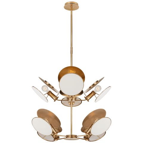 Osiris Medium Reflector Chandelier in Hand-Rubbed Antique Brass with Linen Diffusers