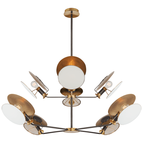 Osiris Large Reflector Chandelier in Bronze and Hand-Rubbed Antique Brass with Linen Diffuser