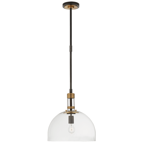 Gable Large Dome Pendant in Bronze and Hand-Rubbed Antique Brass with Clear Glass