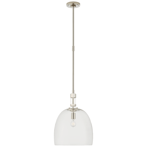 Gable Medium Bell Pendant in Polished Nickel with Clear Glass