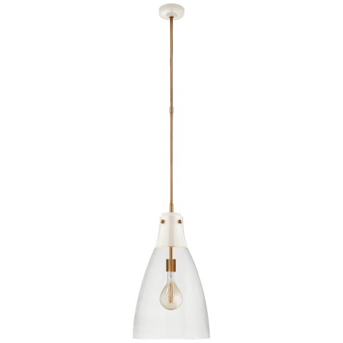 Altare Large Pendant in Antique White and Hand-Rubbed Antique Brass with Clear Glass