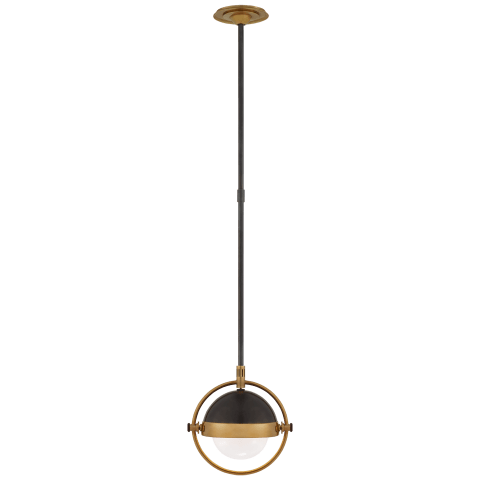 Decca Small Orbital Pendant in Bronze and Hand-Rubbed Antique Brass with White Glass