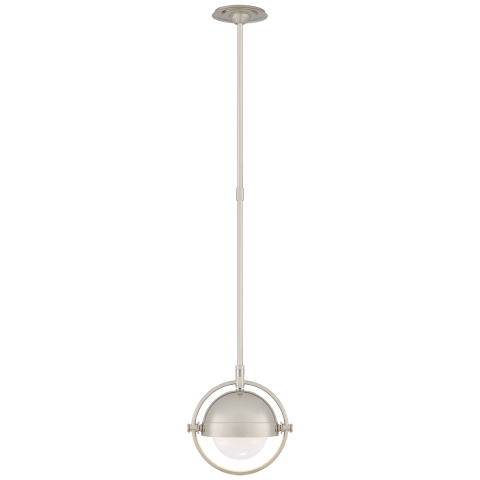 Decca Small Orbital Pendant in Polished Nickel with White Glass
