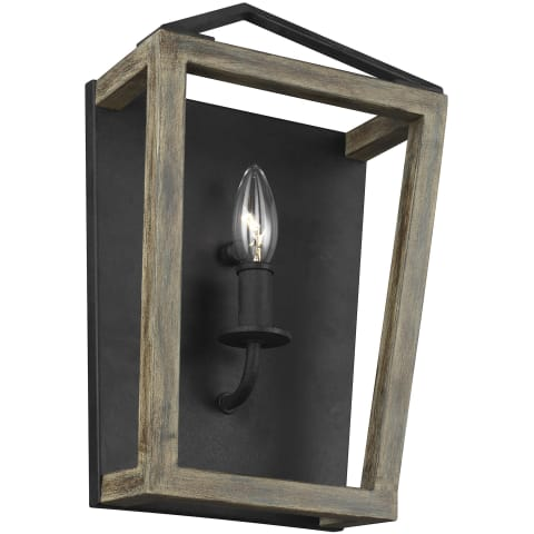 Gannet 1 - Light Wall Sconce Weathered Oak Wood / Antique Forged Iron