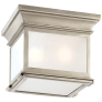 Club Small Square Flush Mount in Antique Nickel with Frosted Glass