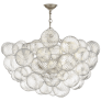 Talia Large Chandelier in Burnished Silver Leaf and Clear Swirled Glass