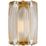 Castle Peak Large Bath Sconce in Soft Brass with Etched Clear Glass