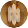 Halcyon Round Sconce in Antique-Burnished Brass and Quartz