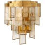 Ardent Small Waterfall Sconce in Antique-Burnished Brass with Fractured Glass Trim