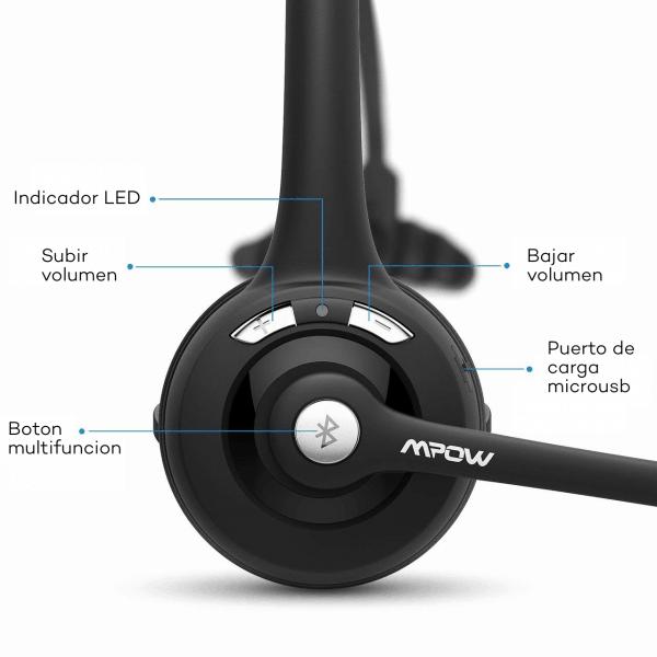 Diadema Mpow Pro Bluetooth V2.1 Manos Libres - Negro