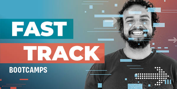 FAST TRACK BOOTCAMP on background of student with a laptop
