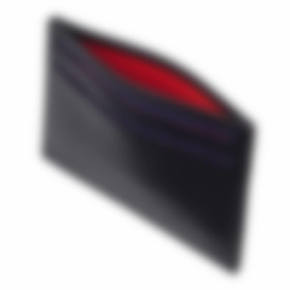Black Saffiano leather slim card holder top