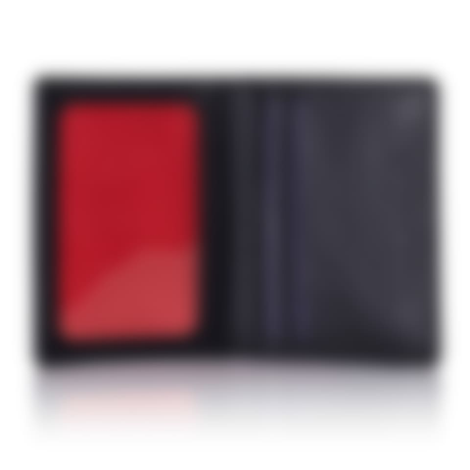 Black Saffiano leather travel card holder open