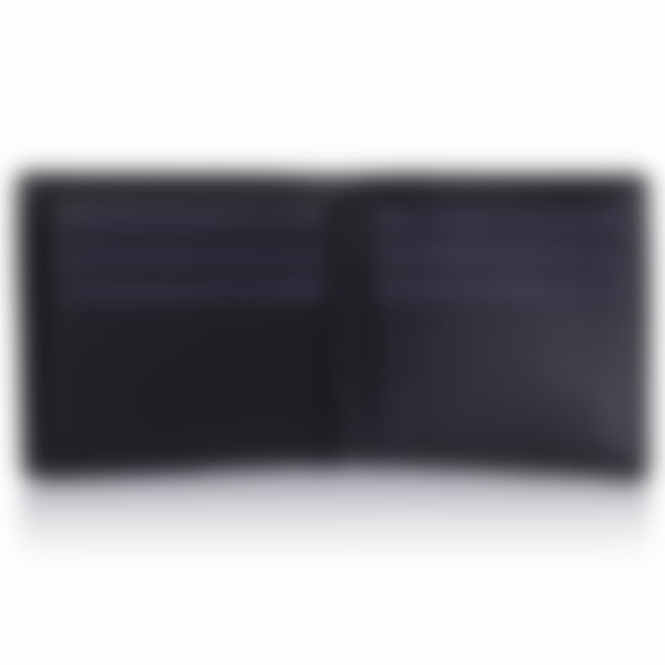 Black Saffiano leather trifold wallet open 2