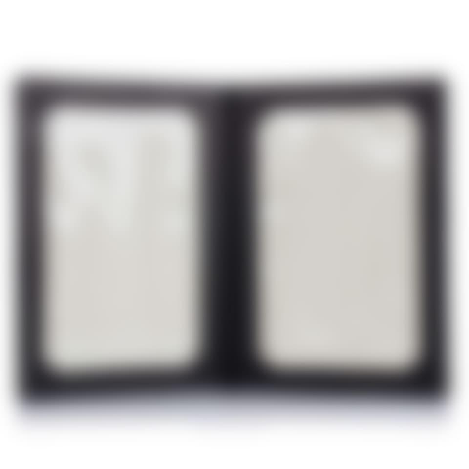 Salisbury leather double photo frame open