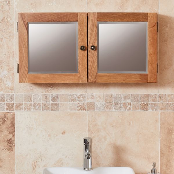 Mobel Oak Mirrored Double Door Cabinet