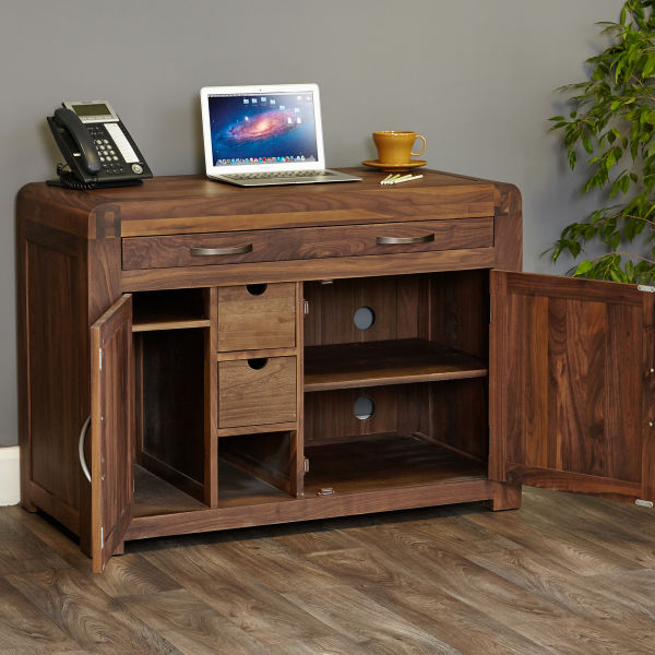 Hidden home office furniture Wall Shiro Walnut Hidden Home Office The Wooden Furniture Store Hideaway Computer Desks Home Office Furniture At Wooden Furniture