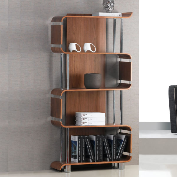 Curve Walnut Bookcase