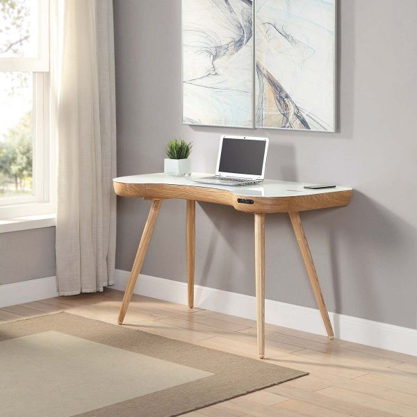 "San Francisco Ash ""Smart"" Charging Desk With QI Wireless Charger, Bluetooth Speakers and USB Ports"
