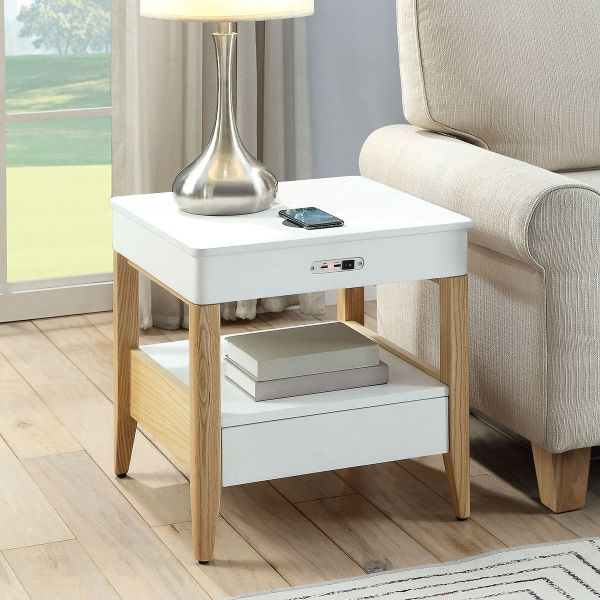 San Francisco Lamp Table With QI Wireless Charger and USB Ports