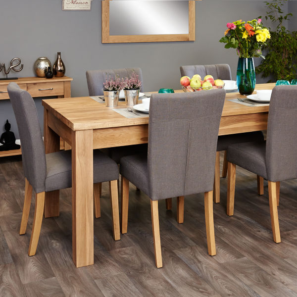 Mobel Oak extending table and 6 grey chairs