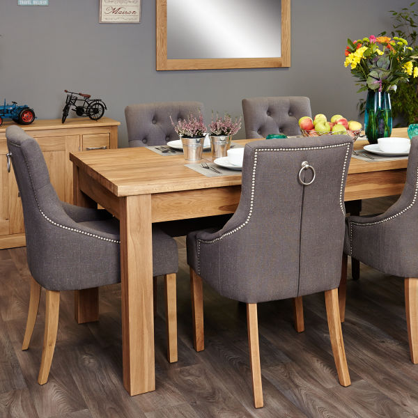 Mobel Oak extending table and 6 grey chairs with arms