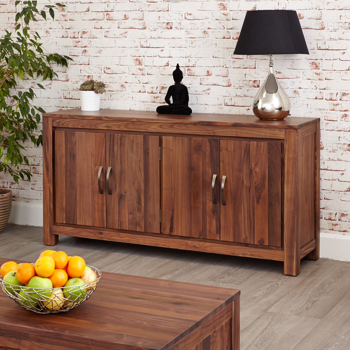 Mayan Walnut Large Low Sideboard Wooden Furniture Store