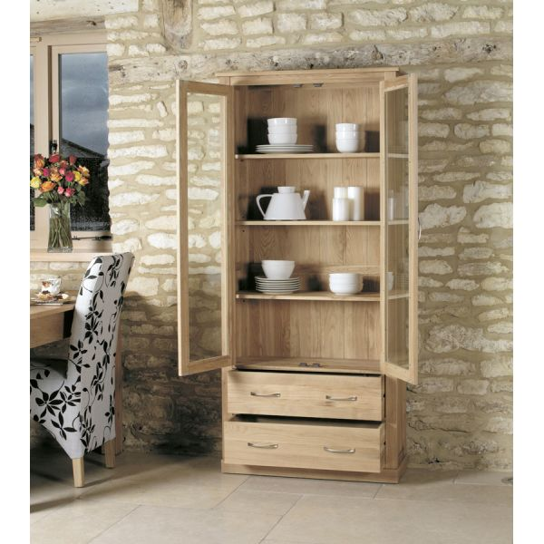 Mobel Oak Large Glazed Display Cabinet