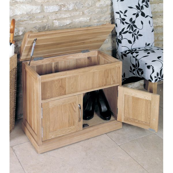Mobel Light Oak Shoe Bench with Hidden Storage