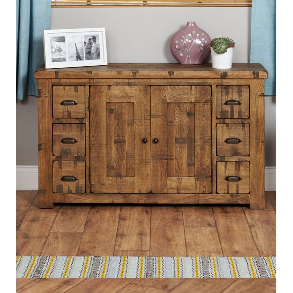 Rough Sawn Oak Six Drawer Sideboard