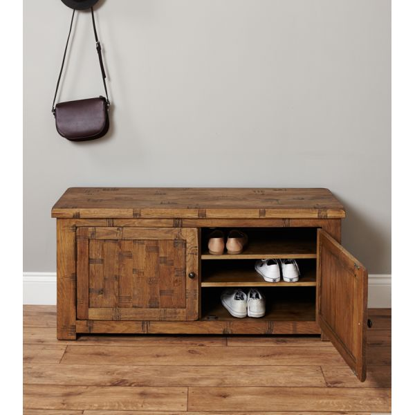 Rough Sawn Oak Shoe Storage Bench