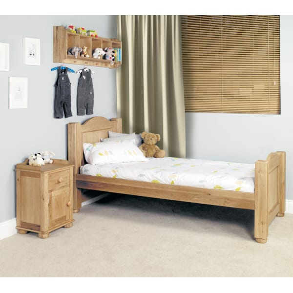 Amelie Oak Bed, Bedside Table and Wall Shelf