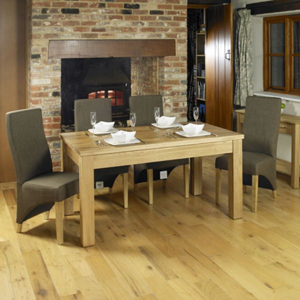 Mobel Oak 4-6 seat dining table and 4 hazelnut chairs