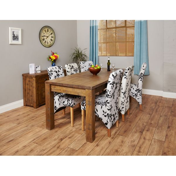 Heyford Oak 4-8 seater dining table and 6 flock chairs
