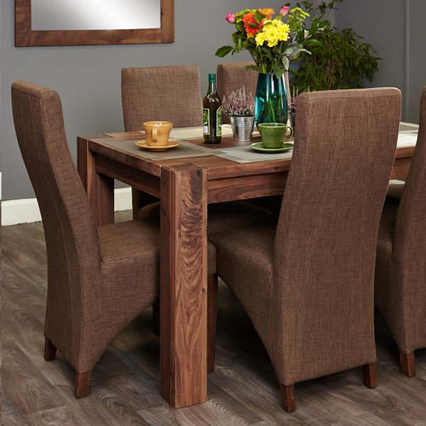 Shiro Walnut 6 Seat Table And 6 Hazelnut Chairs