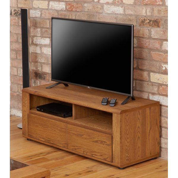 Olten Oak Small Widescreen TV Cabinet with Two Drawers
