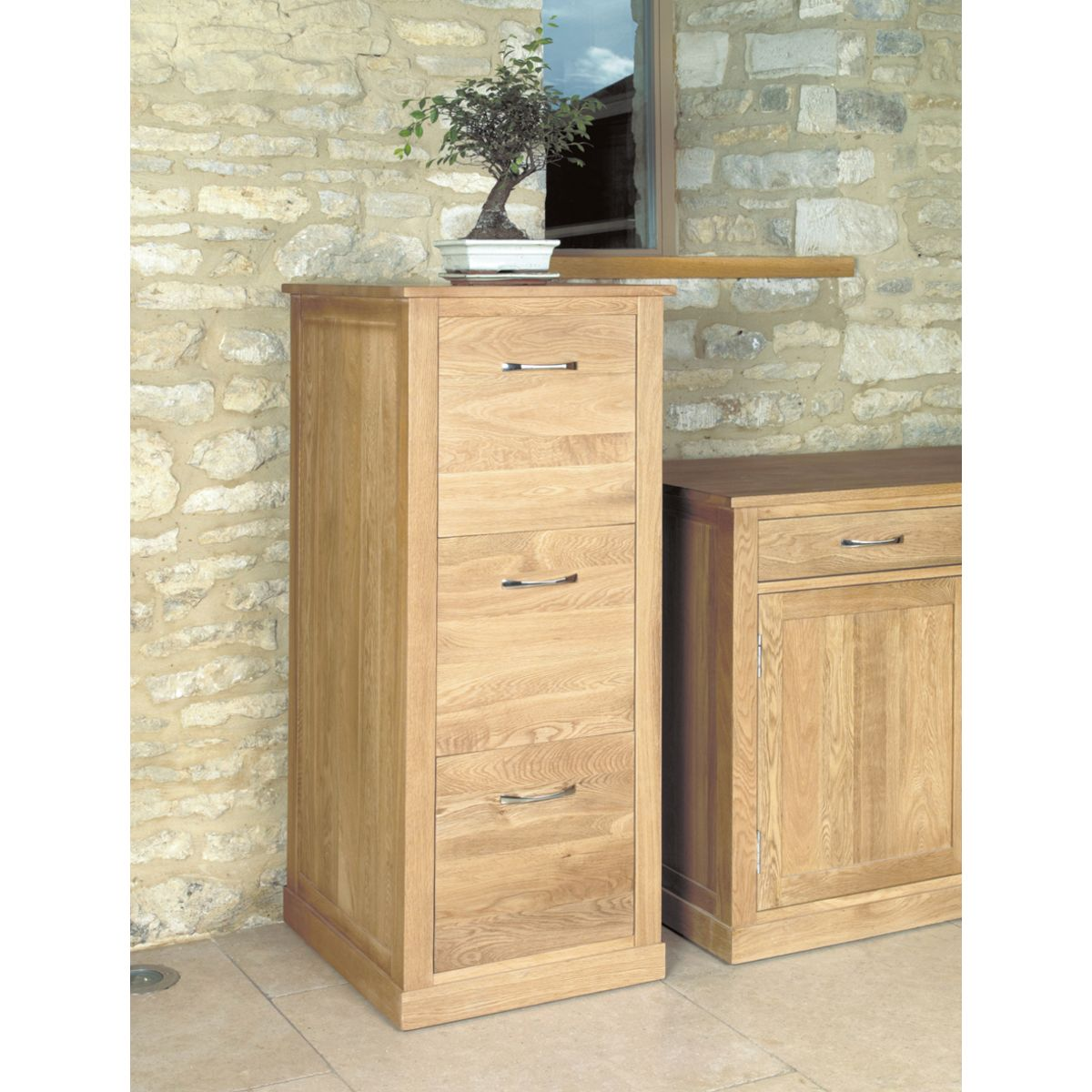 Mobel oak three drawer filing cabinet wooden furniture store for Mobel