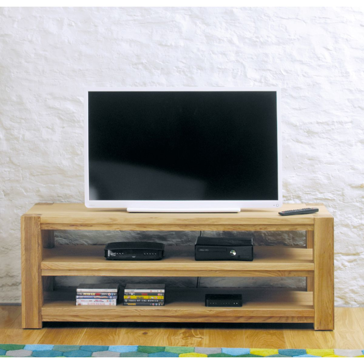 Aston oak widescreen open television cabinet wooden for Armoire tv