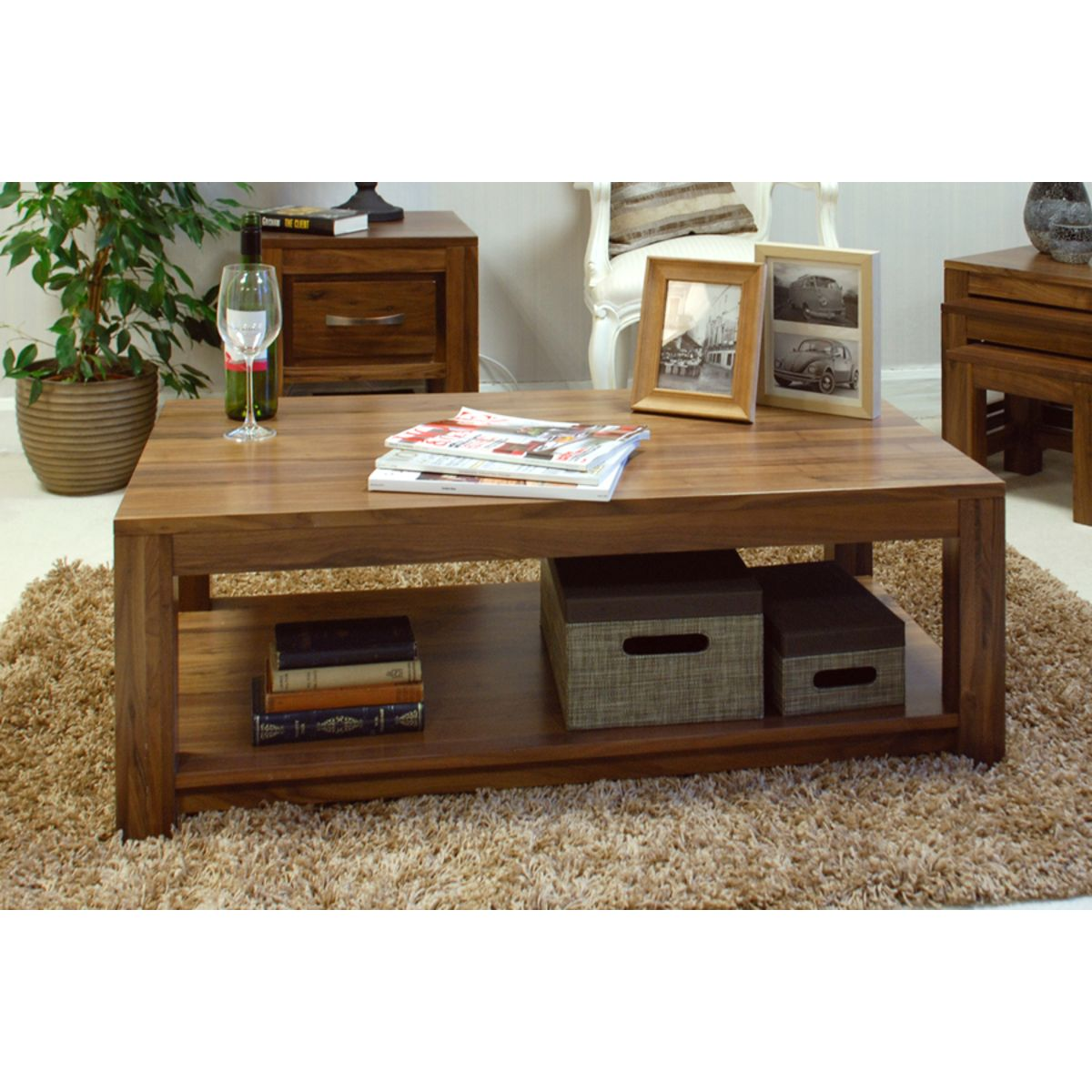 Mayan Walnut Open Coffee Table Wooden Furniture Store