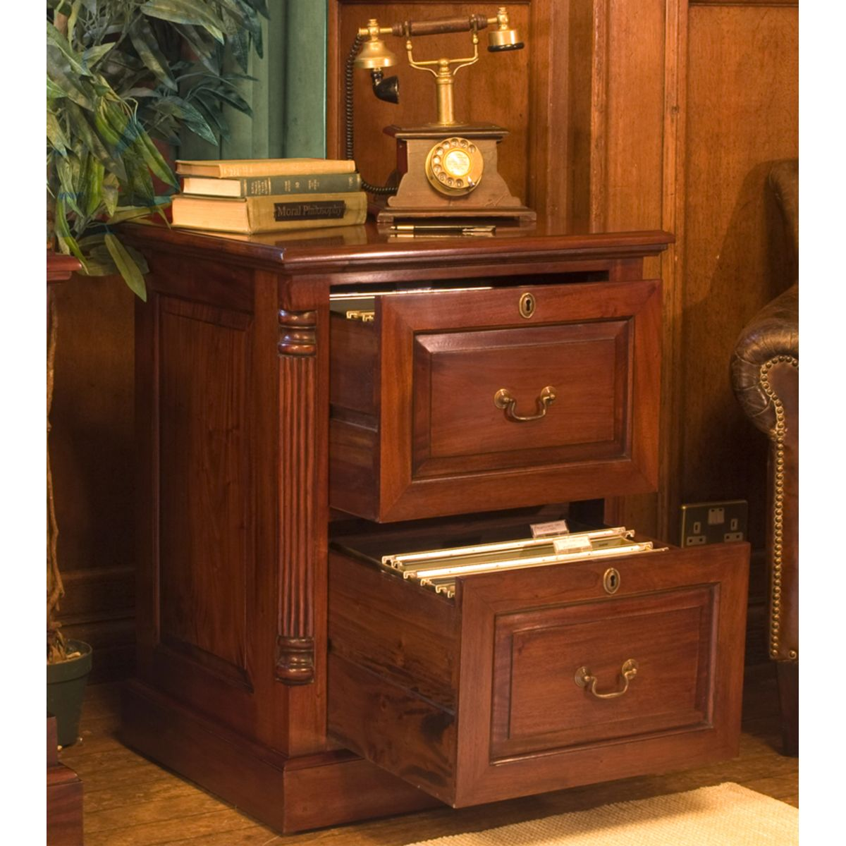 La Roque Mahogany Two Drawer Filing Cabinet Wooden