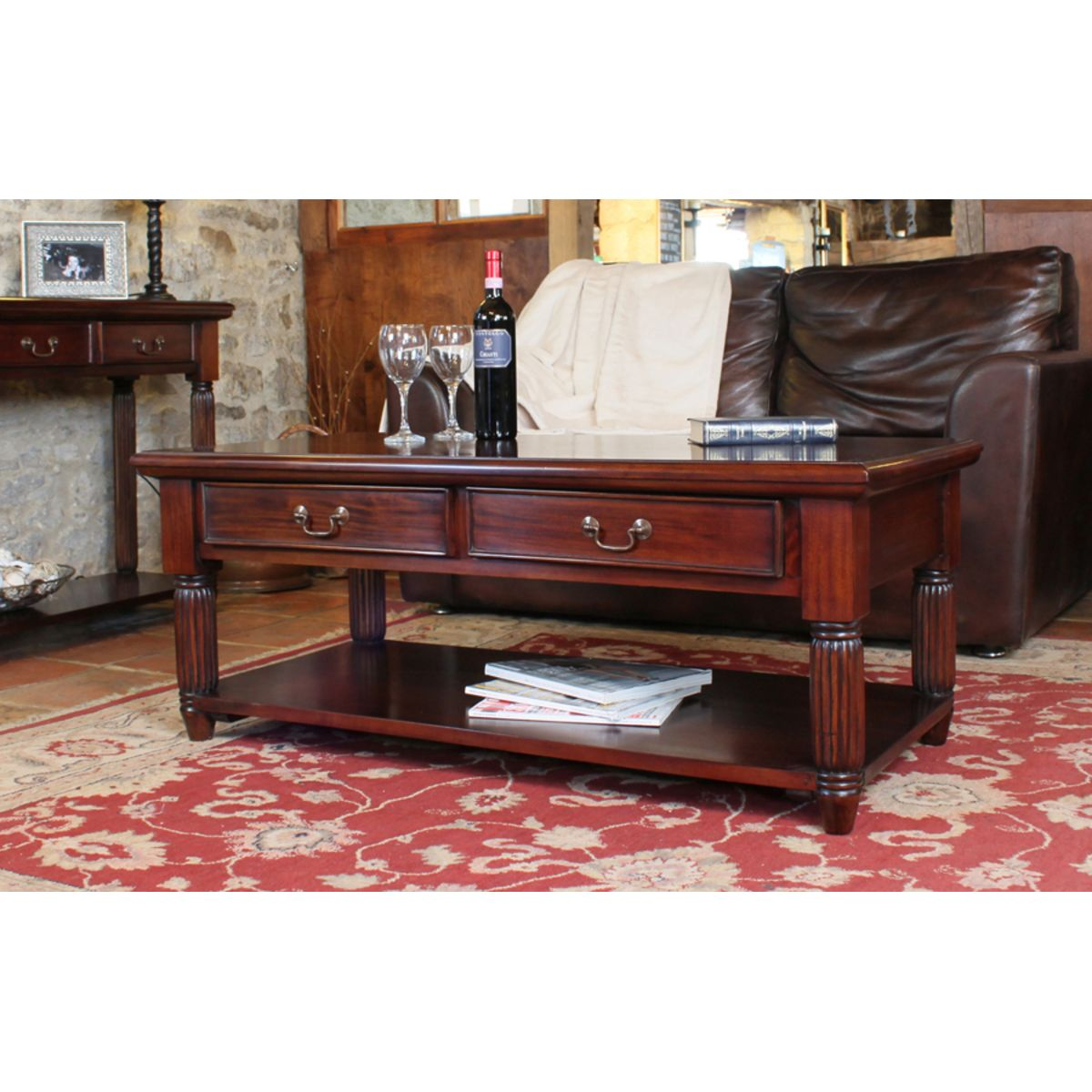 Coffee Table With Drawers Sale: Mahogany Coffee Table With Drawers La Roque