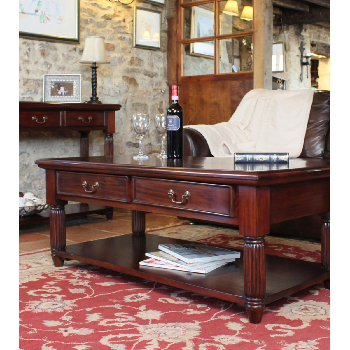 Mahogany Coffee Table With Drawers La Roque Wooden