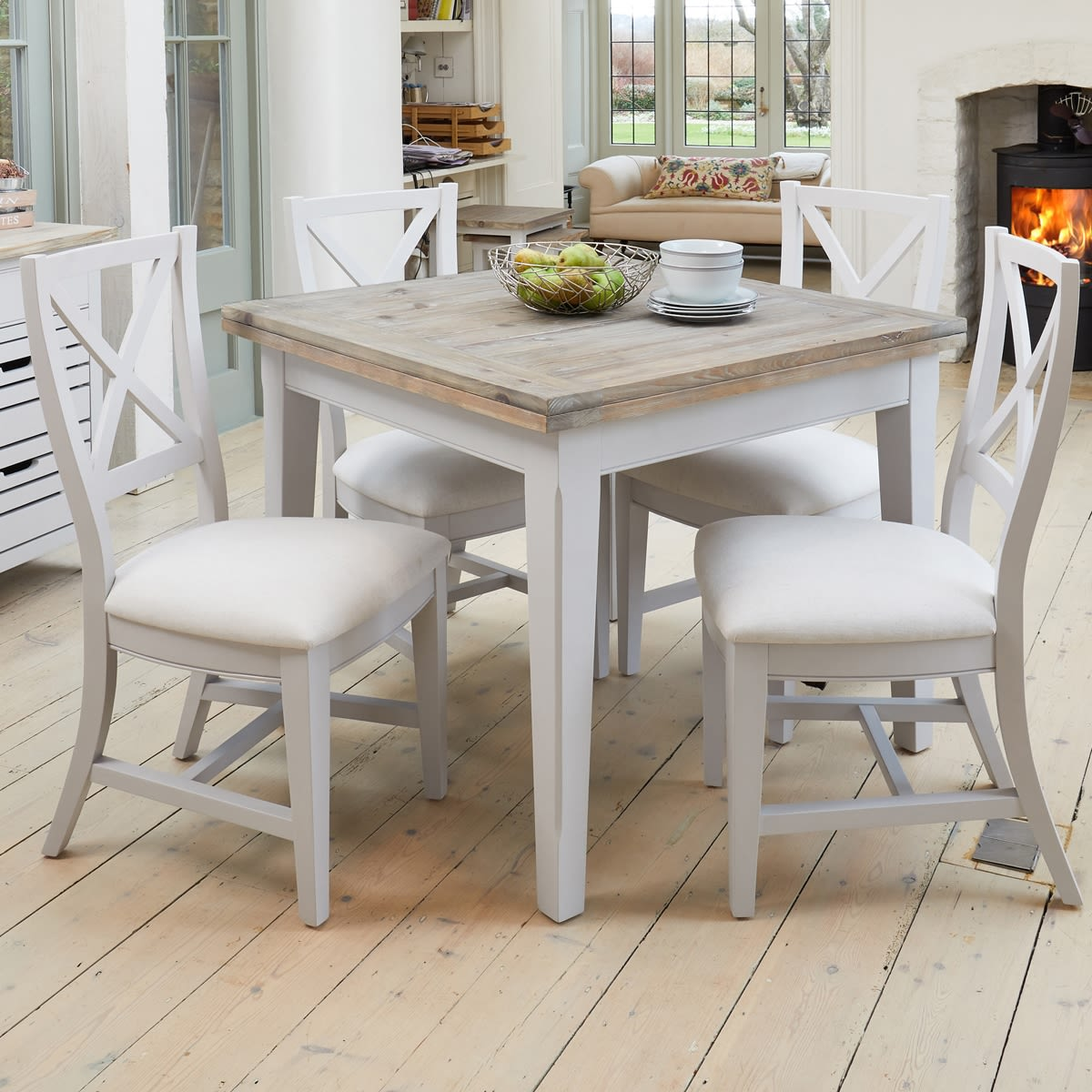 Signature Grey Extending Dining Table And Four Chairs