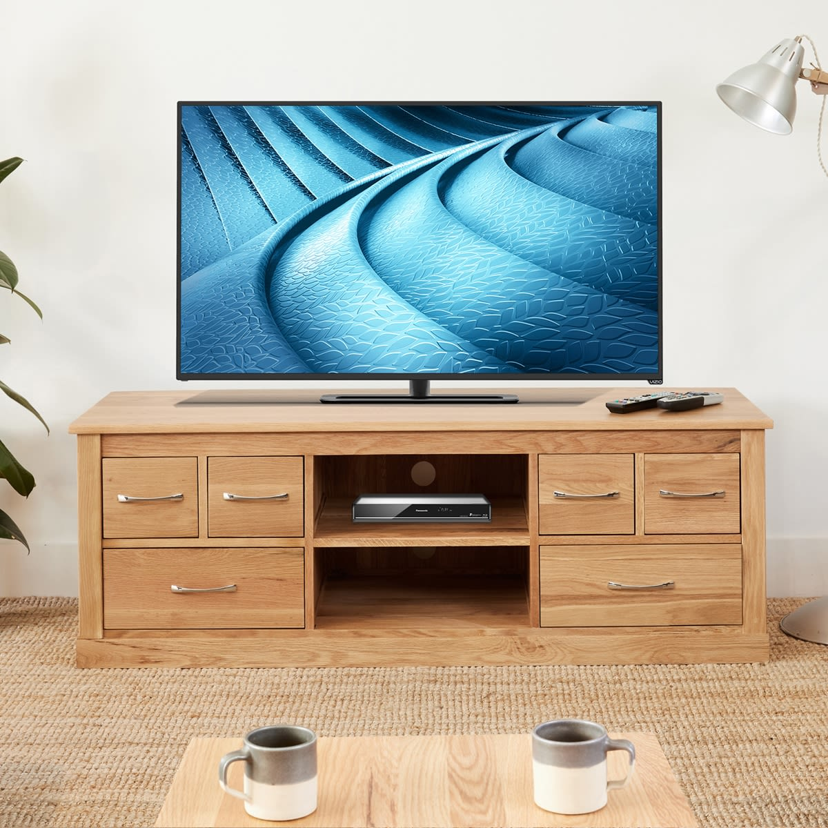 Mobel Oak Widescreen Television Cabinet Wooden Furniture