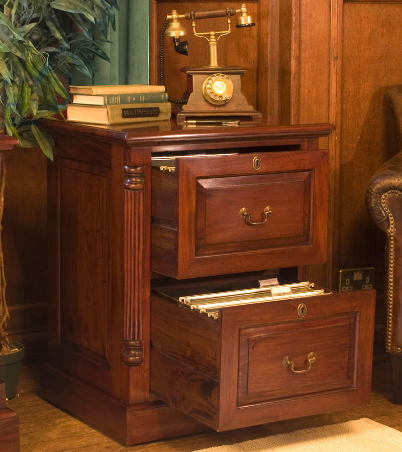 Roque Mahogany Two Drawer Filing Cabinet Was