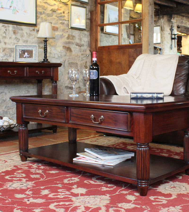 Mahogany Coffee Table With Drawers La Roque Wooden Furniture Store