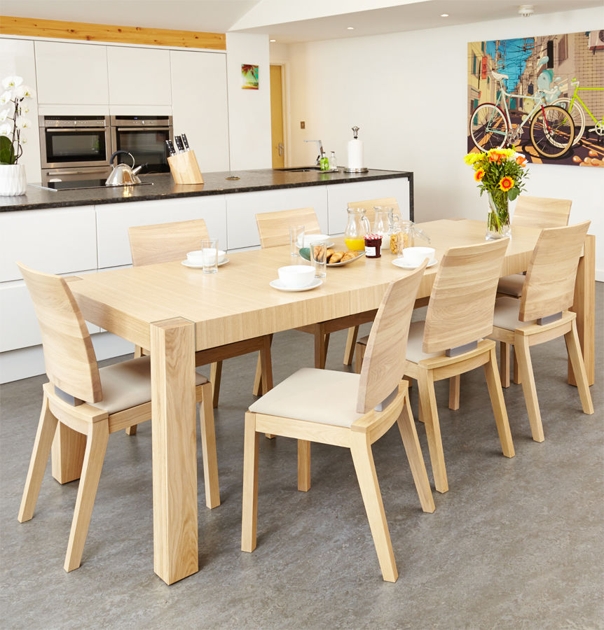 Olten Light Oak Six Seat Extending Dining Table With Six