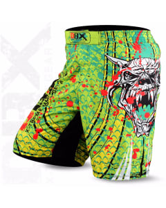Sublimated Muay Thai MMA Kickboxing Shorts Devil Green Print